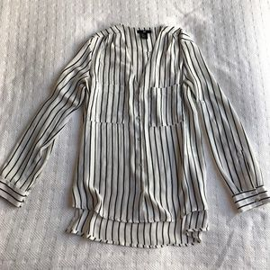White & Black Striped Silky Button Down/Up Blouse